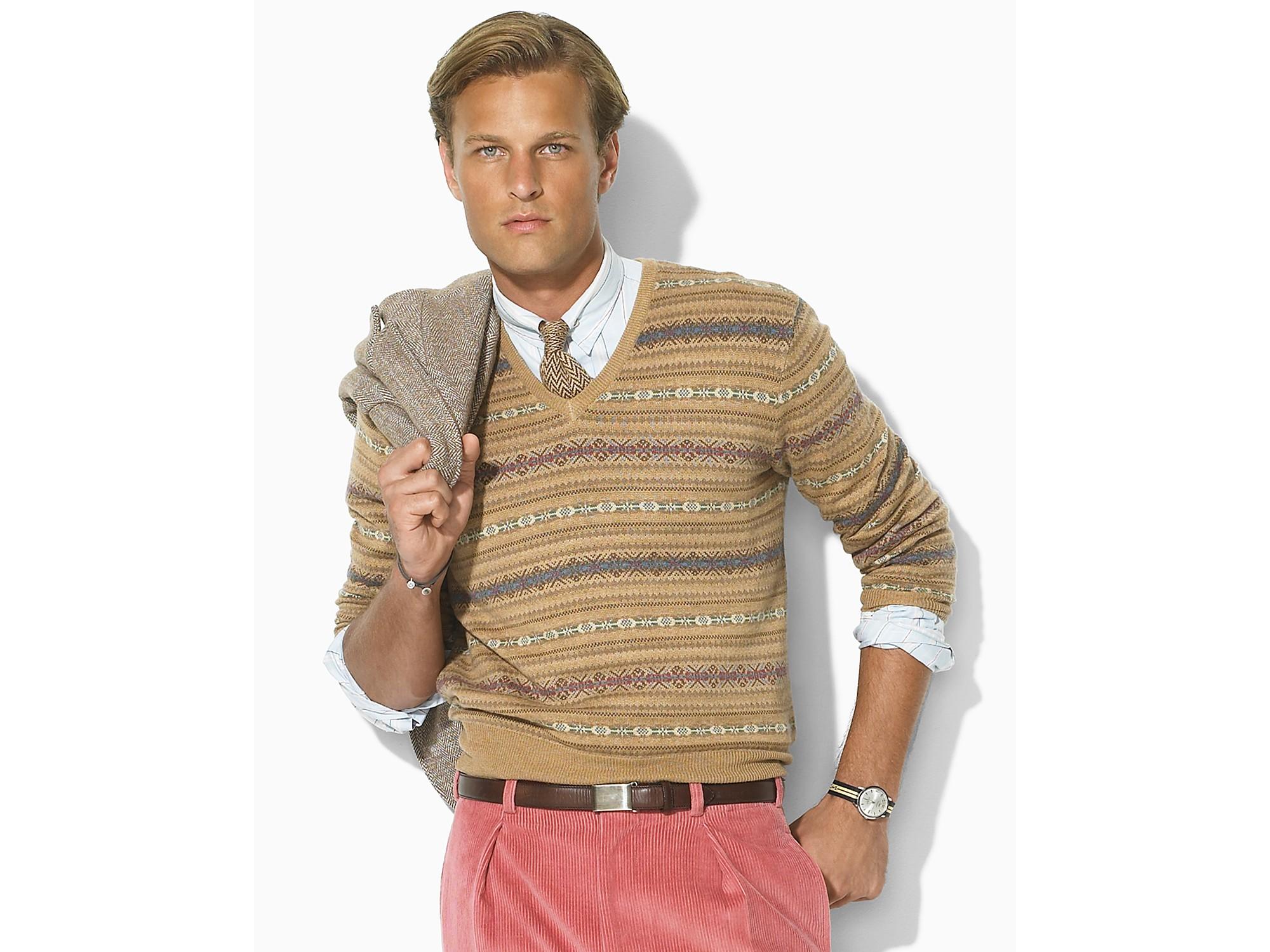 Cashmere fair isle v neck sweater vest in beige for men camel lyst