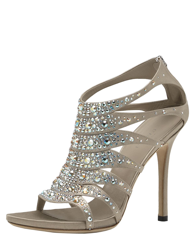 Gucci Soraya Jeweled Sandal In Silver Champagne Lyst