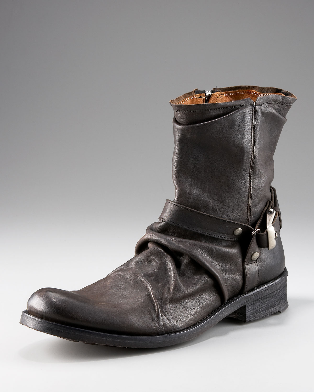 John Varvatos Winter Slouch Buckle Boot In Black Lyst