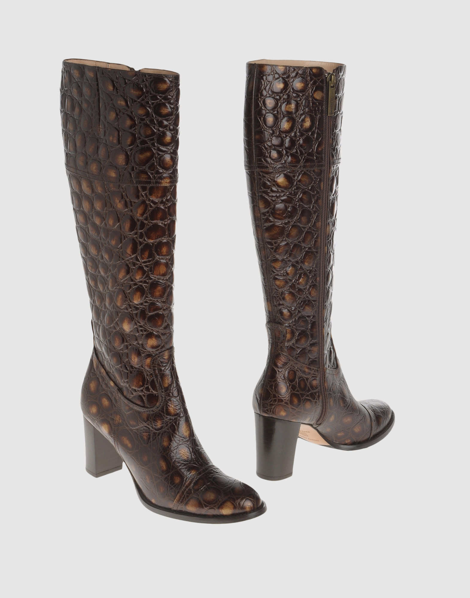 luciano padovan high heeled boots in brown lyst