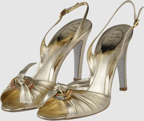Rene Caovilla High-heeled Sandals in Gold