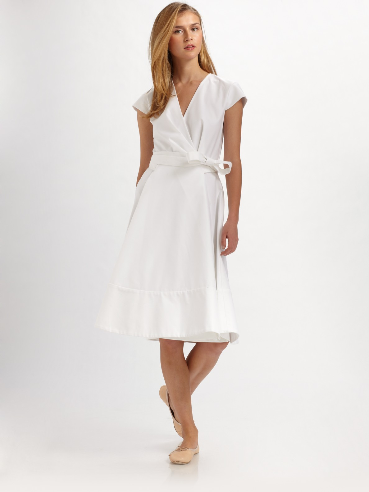 b0d6337cdd Chloé Cotton Cap Sleeve Wrap Dress in White - Lyst