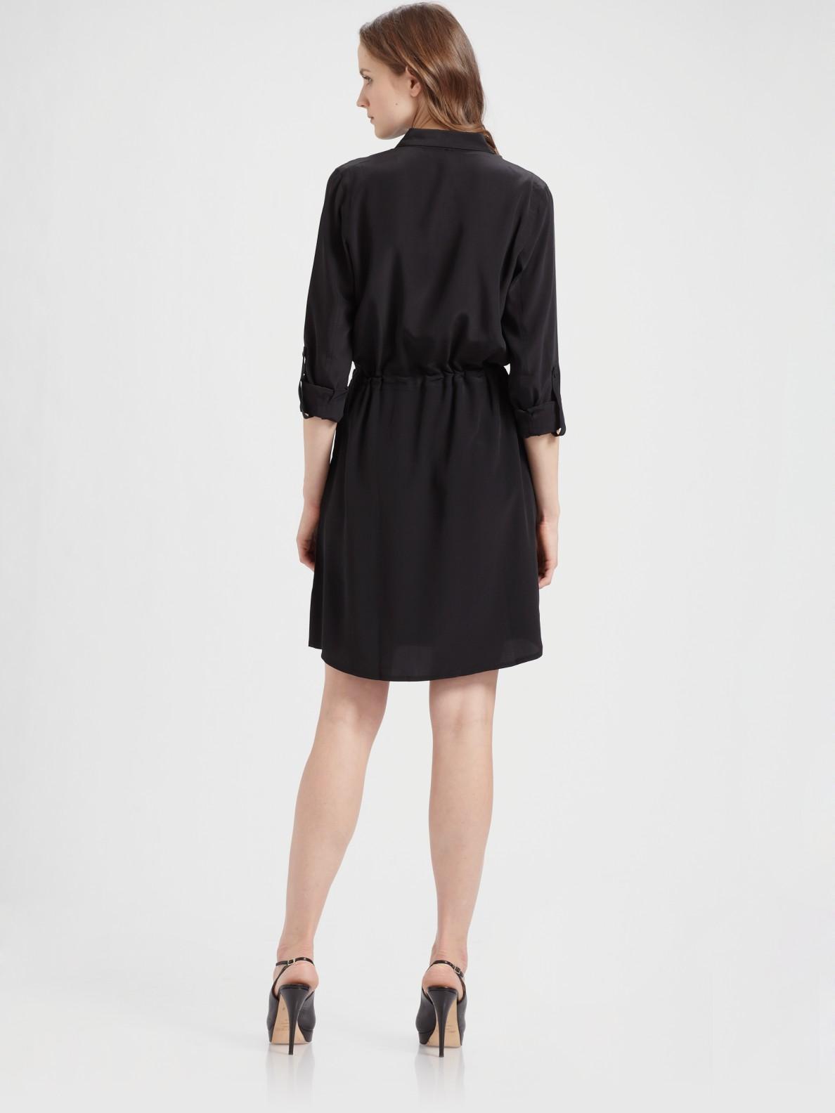 Lyst Eileen Fisher Silk Shirt Dress In Black