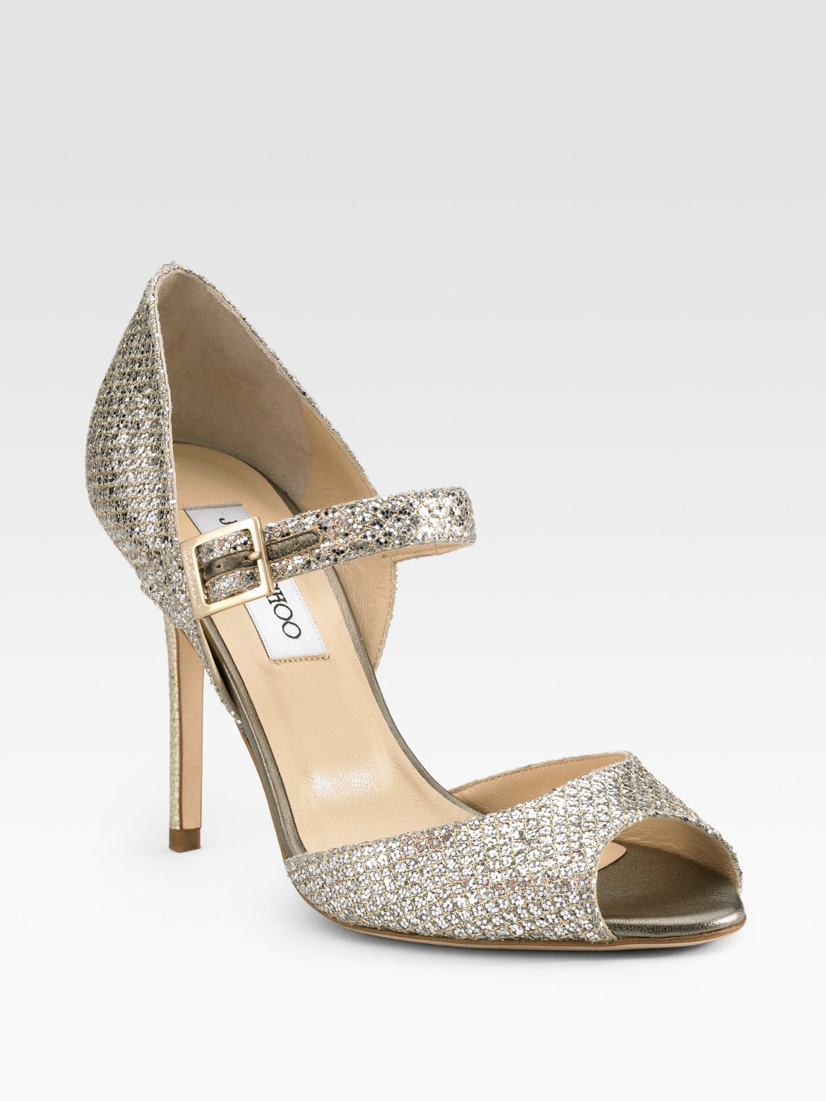 arriving huge selection of new photos Jimmy Choo Lace Glitter Mary Jane Pumps in Champagne (Metallic) - Lyst