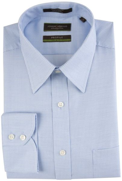 Joseph Abboud Blue Check Profile Point Collar Dress Shirt