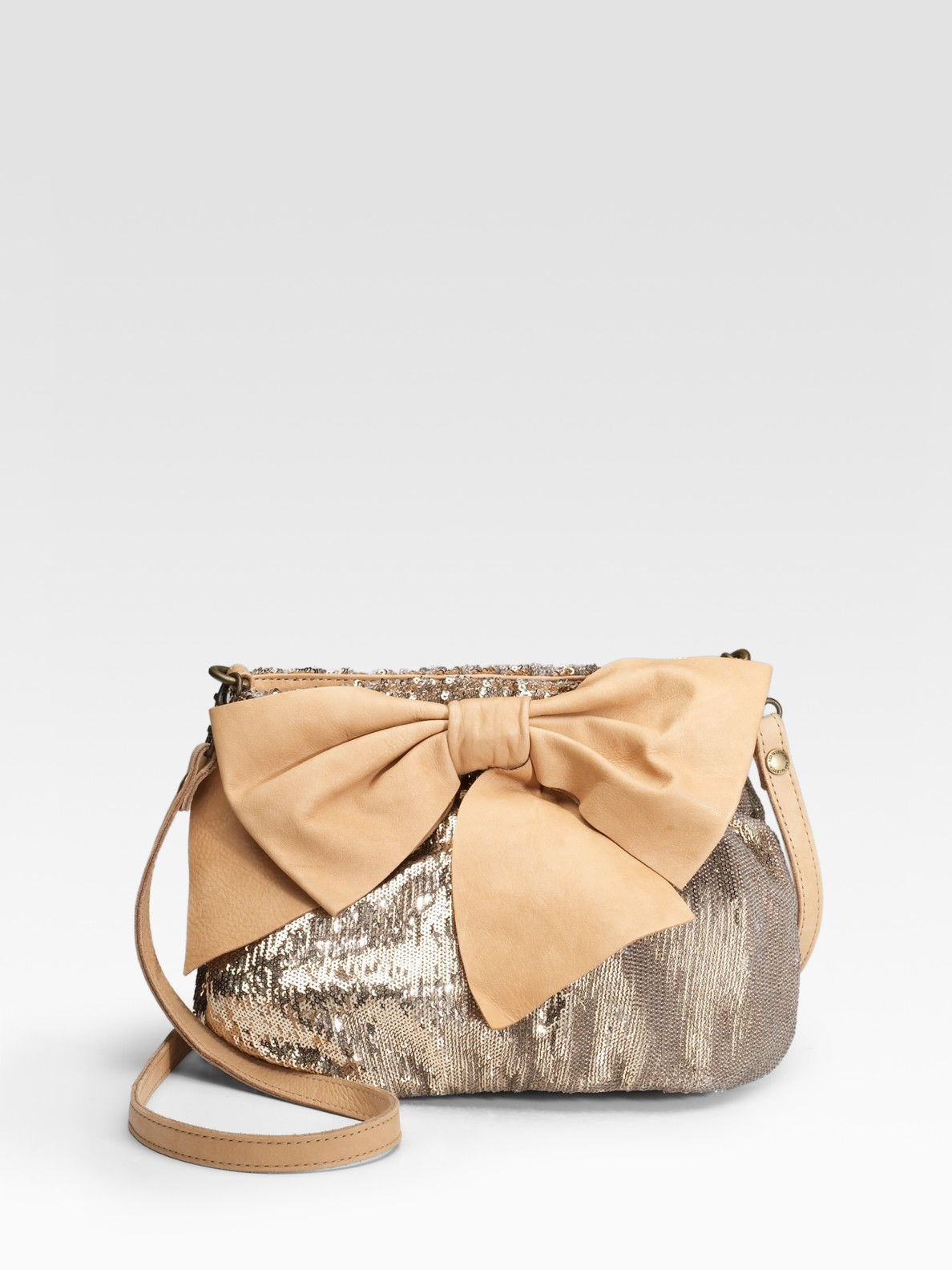 Red Valentino Sequin Bow Crossbody Shoulder Bag In Silver