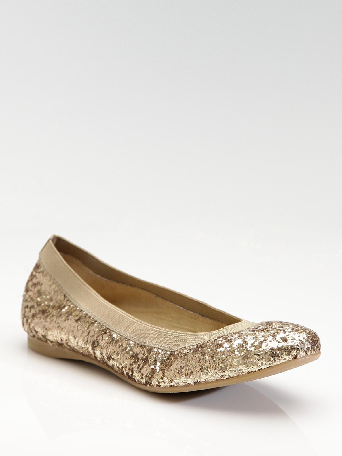Stuart Weitzman Lastikon Glitter Ballet Flats In Gold