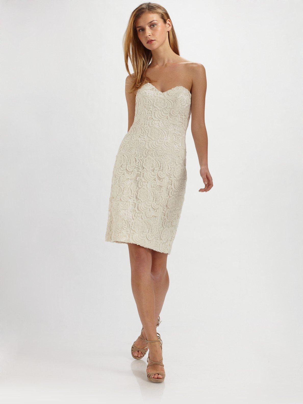 strapless lace dress white « Bella Forte Glass Studio