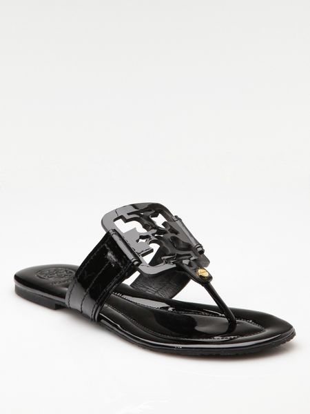 15adbc2a9 Tory Burch Square Miller Patent Leather Thong Sandals in Black - Lyst