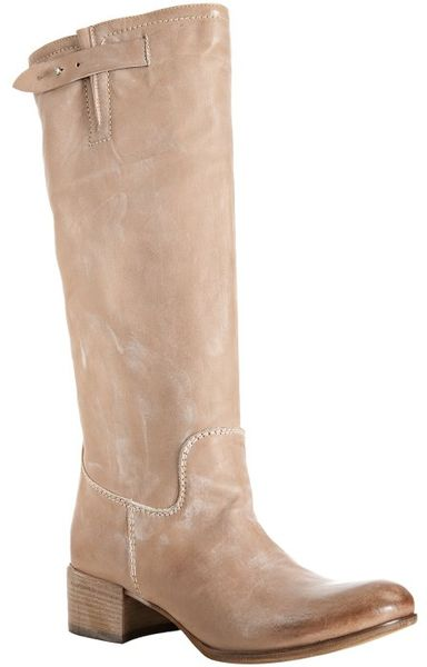 Alberto Fermani Natural Leather Slouched Tall Boots In