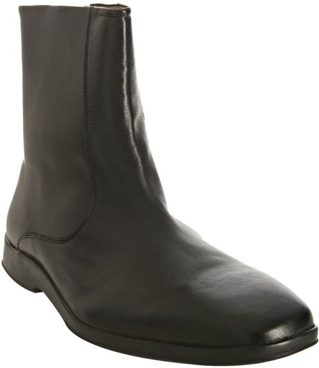 Cole Haan Black Leather Air Jarvis Zip Boots In Black For