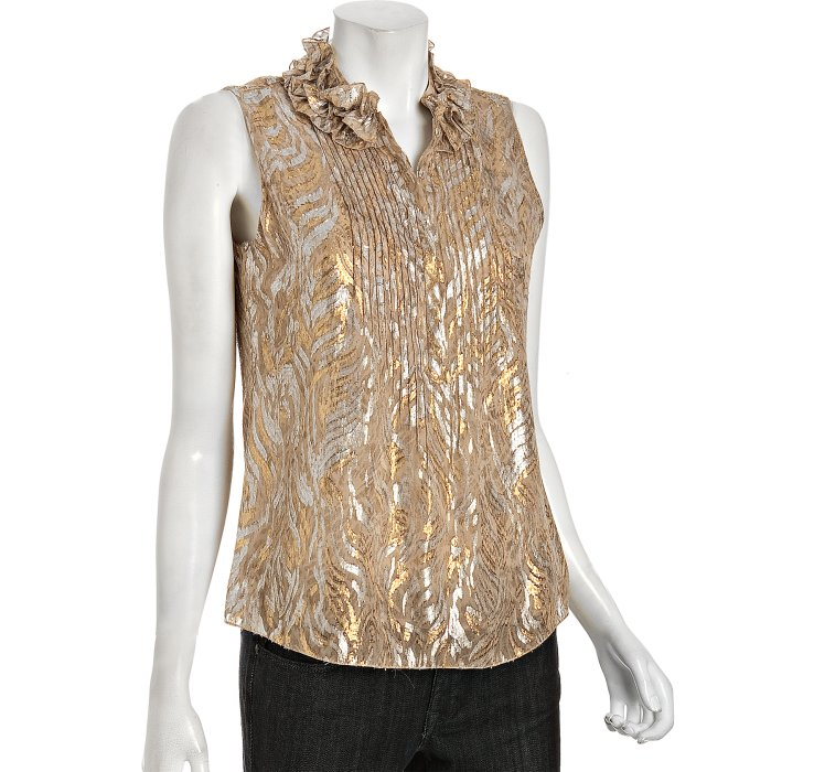 Elie tahari Gold Metallic Embroidered Chiffon Sleeveless Blouse in ...