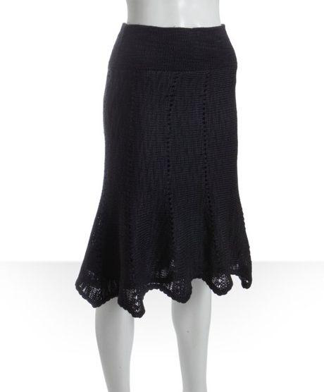 free black wool blend knit knee length sweater