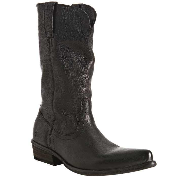 frye black leather hutch pull on boots in black for lyst