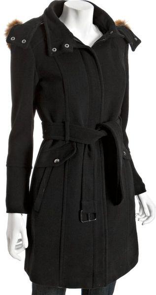 Marc New York Black Wool Blend Coyote Fur Hood Belted Coat