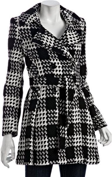 Via Spiga Black And White Plaid Wool Blend Scarpa Belted