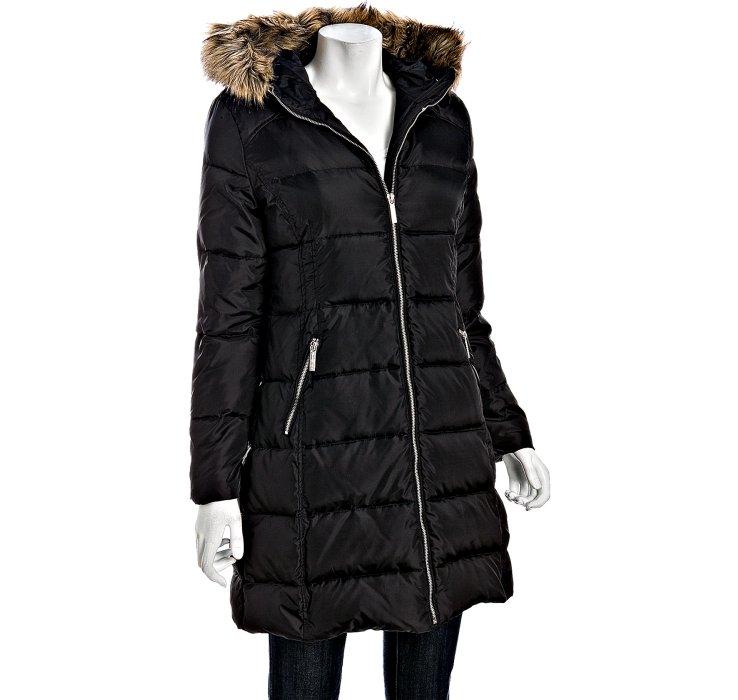 Michael Michael Kors Black Quilted Faux Fur Trim Hooded
