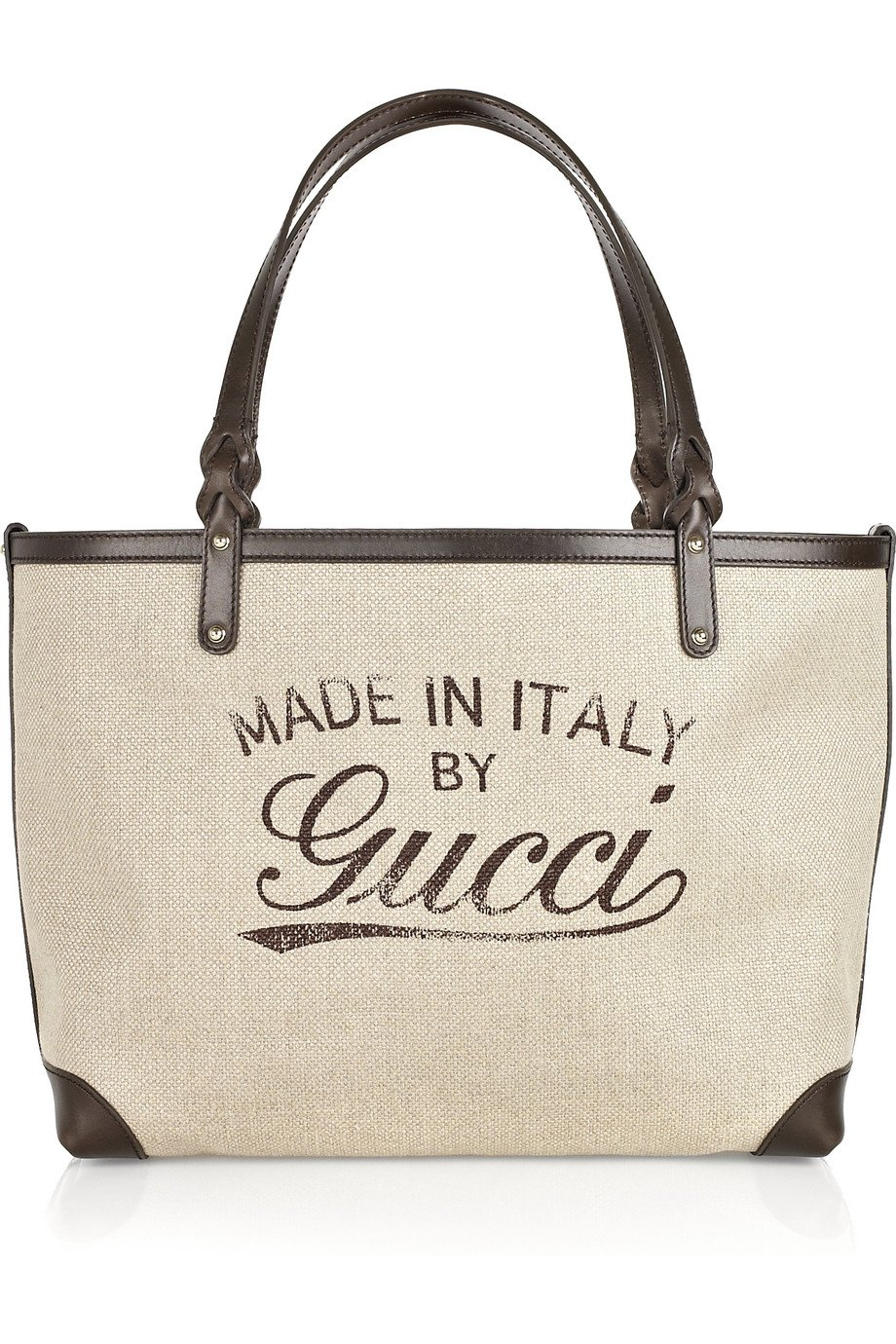 13b0ac528be Lyst - Gucci Craft Canvas and Leather Tote in Natural