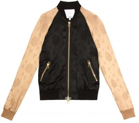 3.1 Phillip Lim Twotoned Silk Bomber Jacket in Black - Lyst