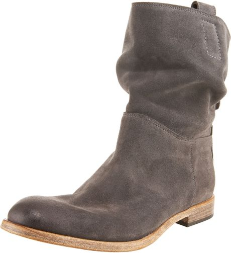 alberto fermani slouchy suede ankle boot in gray grey lyst