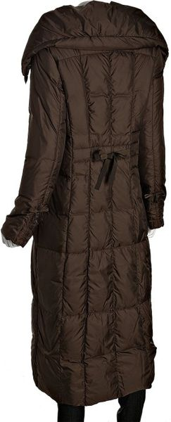 Cole Haan Espresso Quilted Poly Full Length Down Coat In