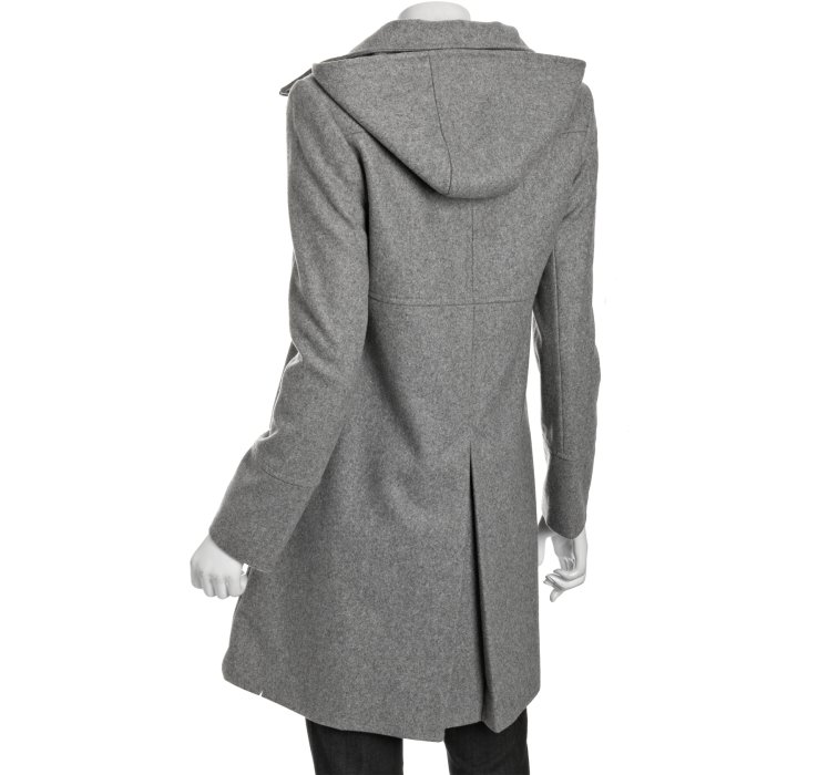 Dkny Pale Grey Wool Blend Julie Zip Front Hooded Coat in Gray | Lyst