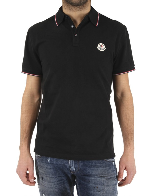 ef23b1972 Lyst Logo Polo Piquet In Moncler Men For Black Front qqr46Txf