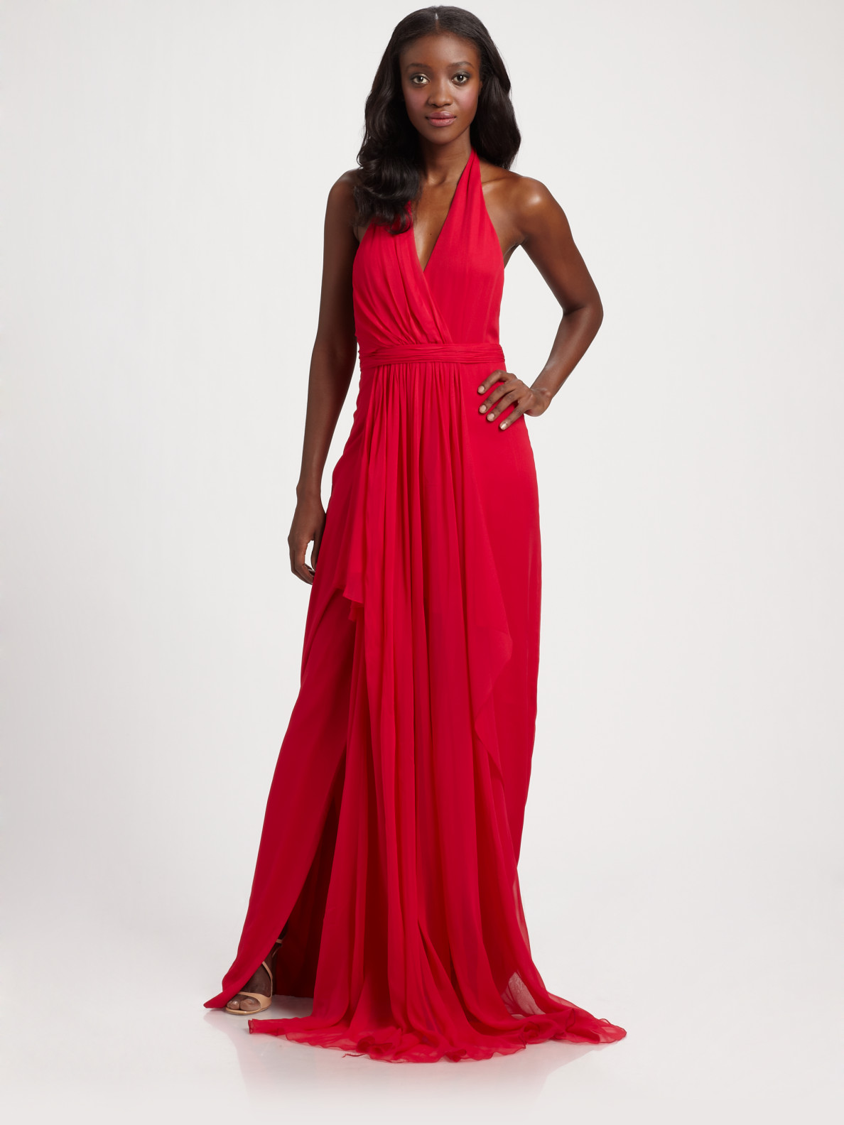 Notte by marchesa Silk Chiffon Halter Gown in Red | Lyst