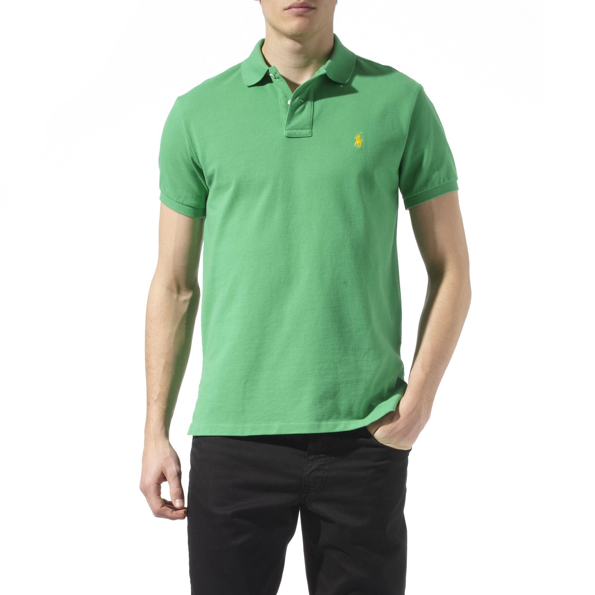 Ralph Lauren Custom Fit Mesh Polo Shirt In Green For Men