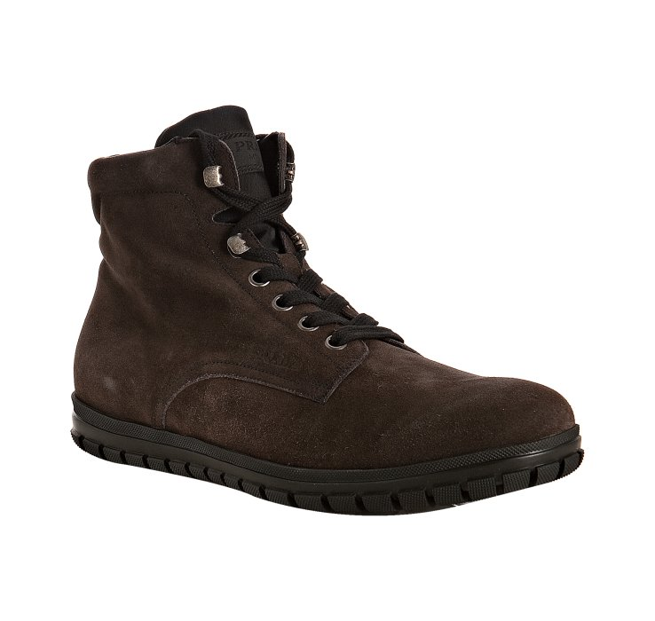 prada sport brown suede ankle boots in brown for