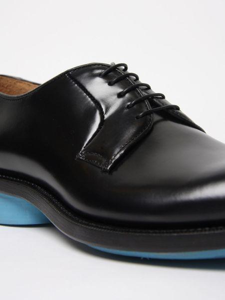 formal wear raf simons black leather shoe w turquoise sole