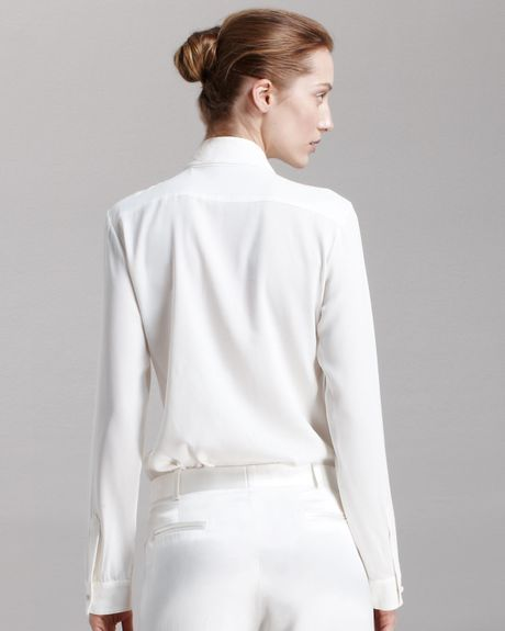 White Satin Blouse Long Sleeve 110