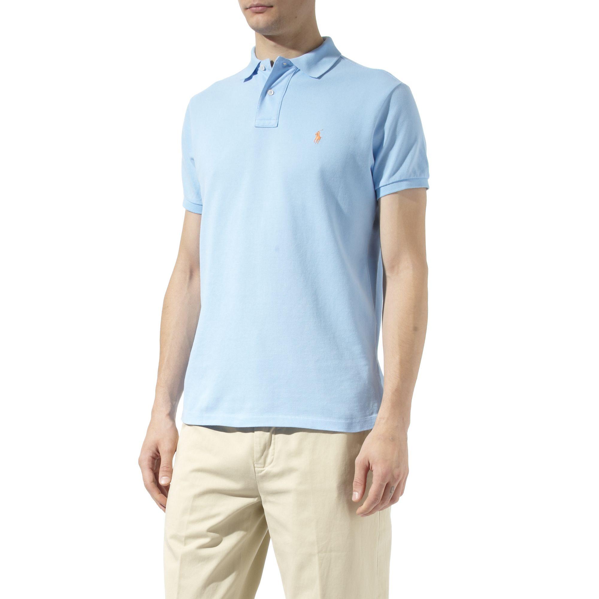 Ralph Lauren Custom Fit Mesh Polo Shirt In Blue For Men Lyst