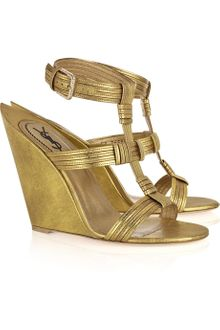 Yves Saint Laurent Venice Leather Sculpted-wedge Sandals - Lyst