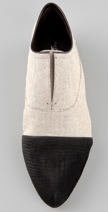 Lyst Calvin Klein Remi Linen Cap Toe Flats In Natural