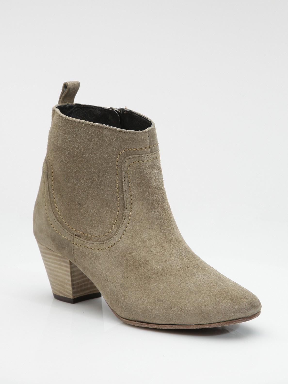 h by hudson suede ankle boots in green beige lyst