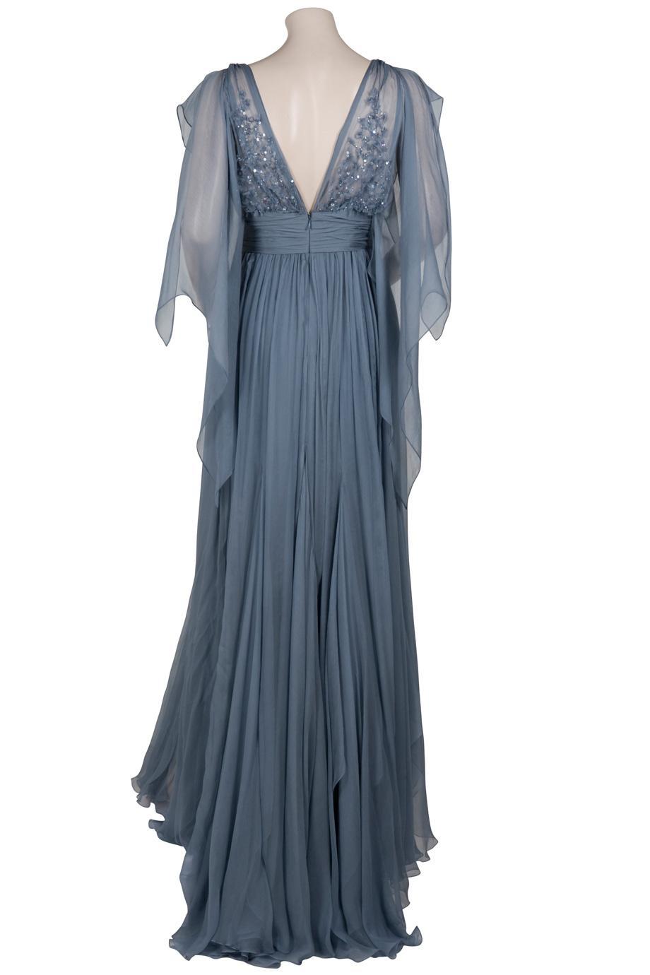 Eastland Sheer Sleeve Gown in Blue | Lyst