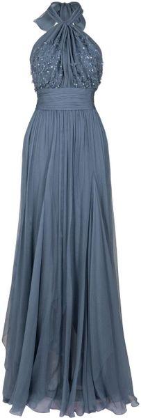Eastland Chiffon Beaded Halter Gown in Blue (orange)