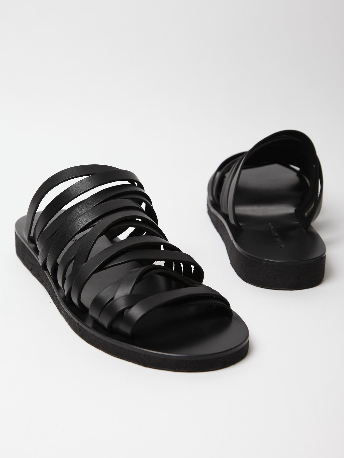 Marc jacobs mens leather strap sandal in black for men lyst for Black leather strap