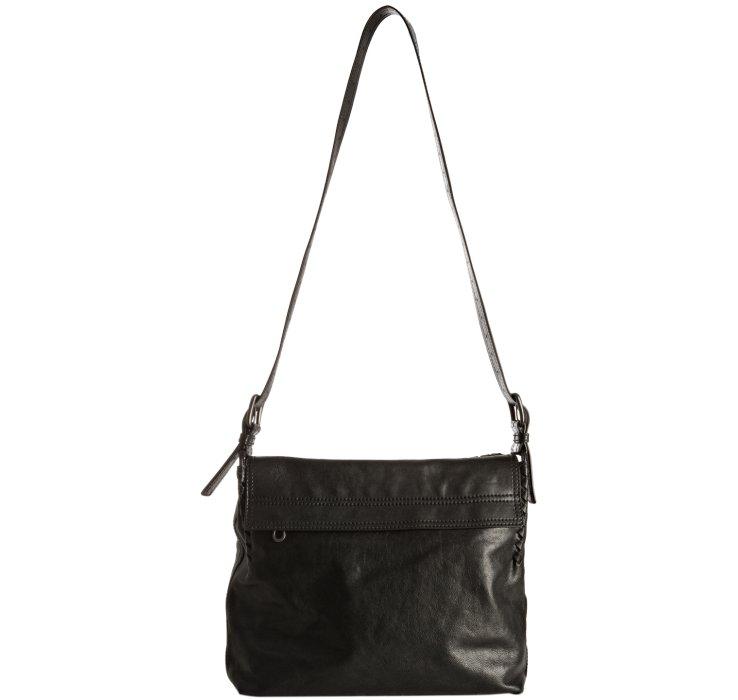 b213597f6461 Lyst - Bottega veneta Black Leather Basketweave Trim Flap Messenger ...