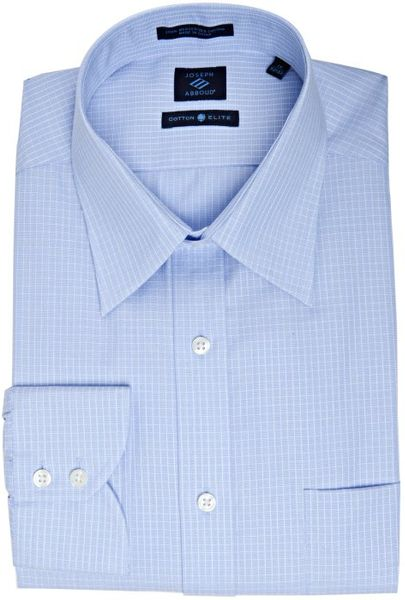 Joseph abboud blue windowpane cotton point collar dress for Joseph abboud dress shirt