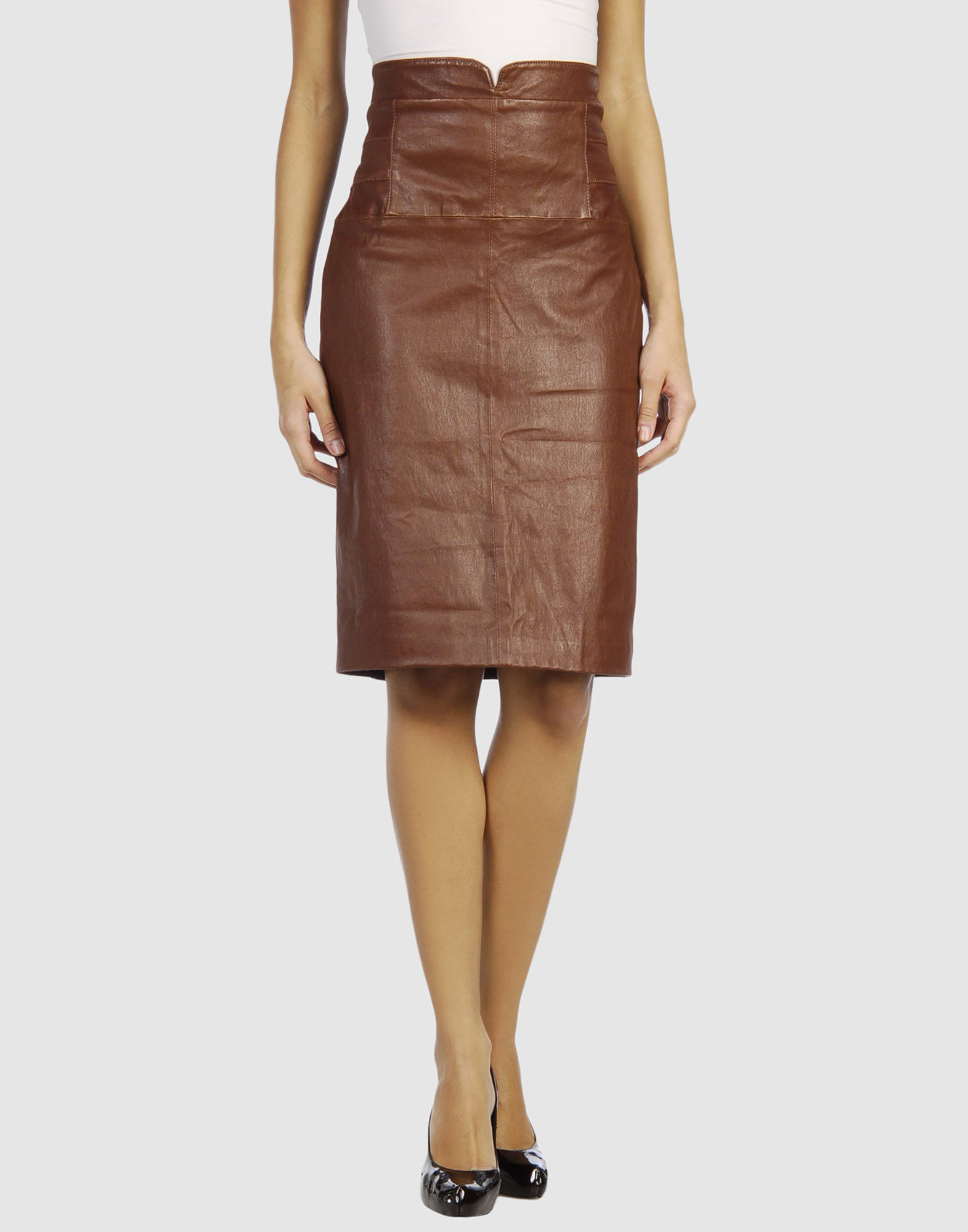 temperley leather skirt in brown lyst
