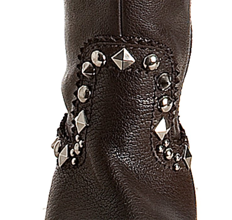 Lyst Miu Miu Brown Leather Studded Thigh High Boots In Brown
