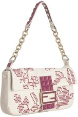Fendi Milk Leather Bead Detailed Baguette
