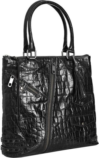Rebecca Minkoff Black Croc Embossed Leather Biker Tote - Lyst