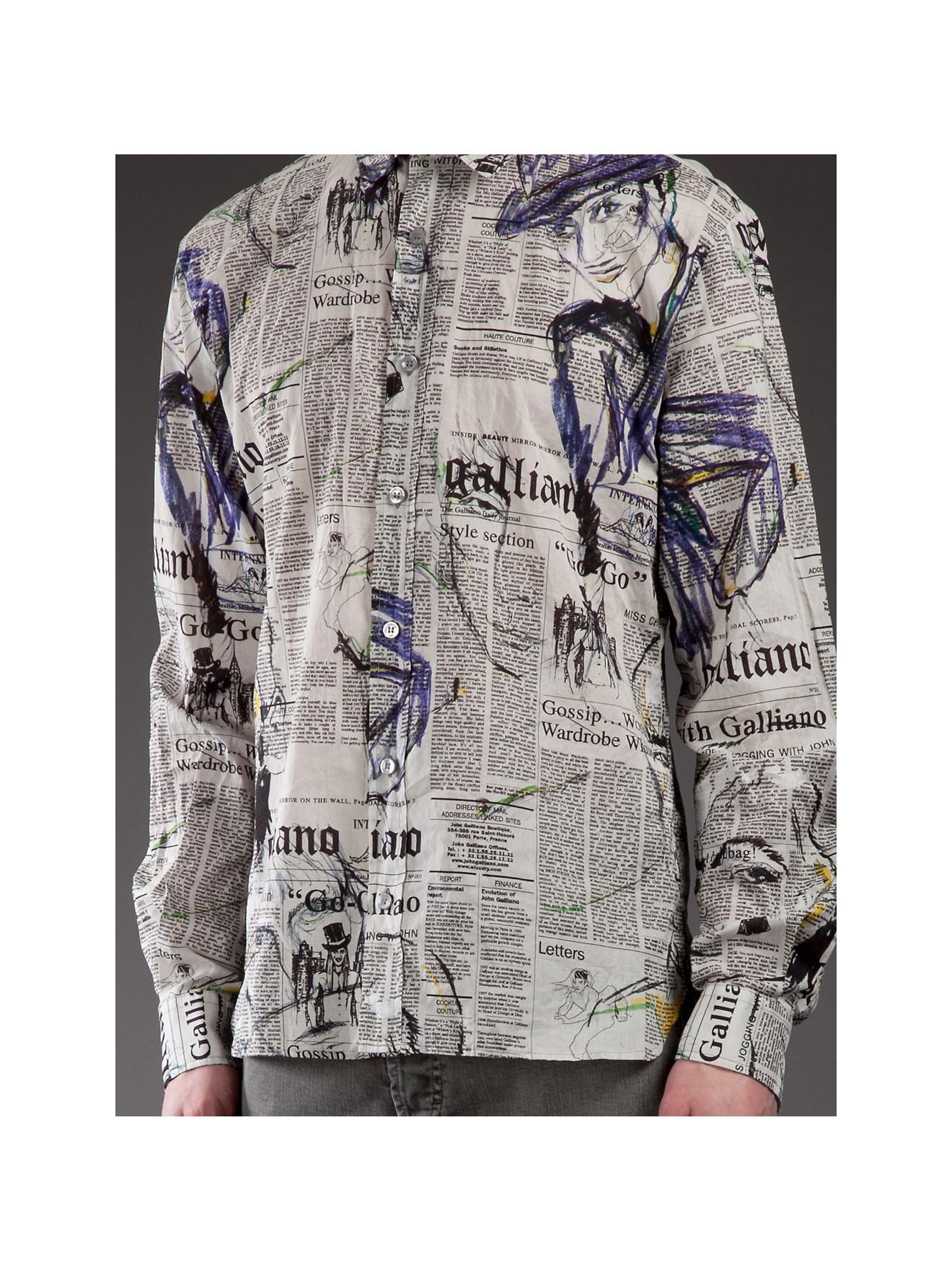 John Galliano Newspaper Print Shirt In Gray For Men Lyst