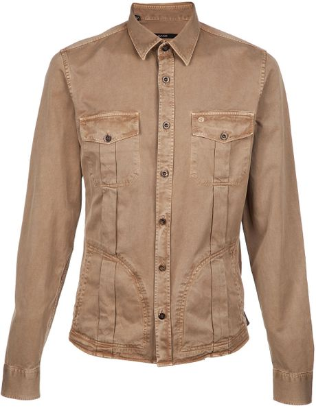 Gucci Button Up Shirt In Green For Men Khaki Lyst