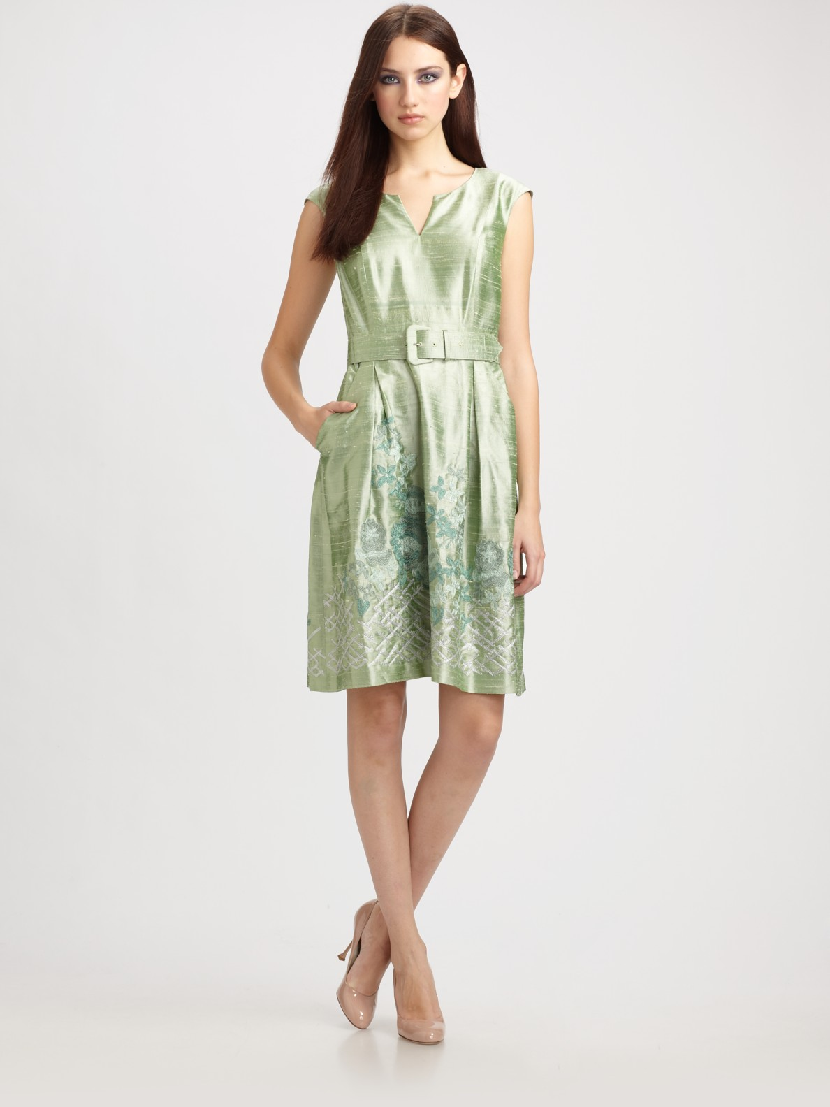 Kay Unger Embroidered Silk Dupioni Dress In Sage Green