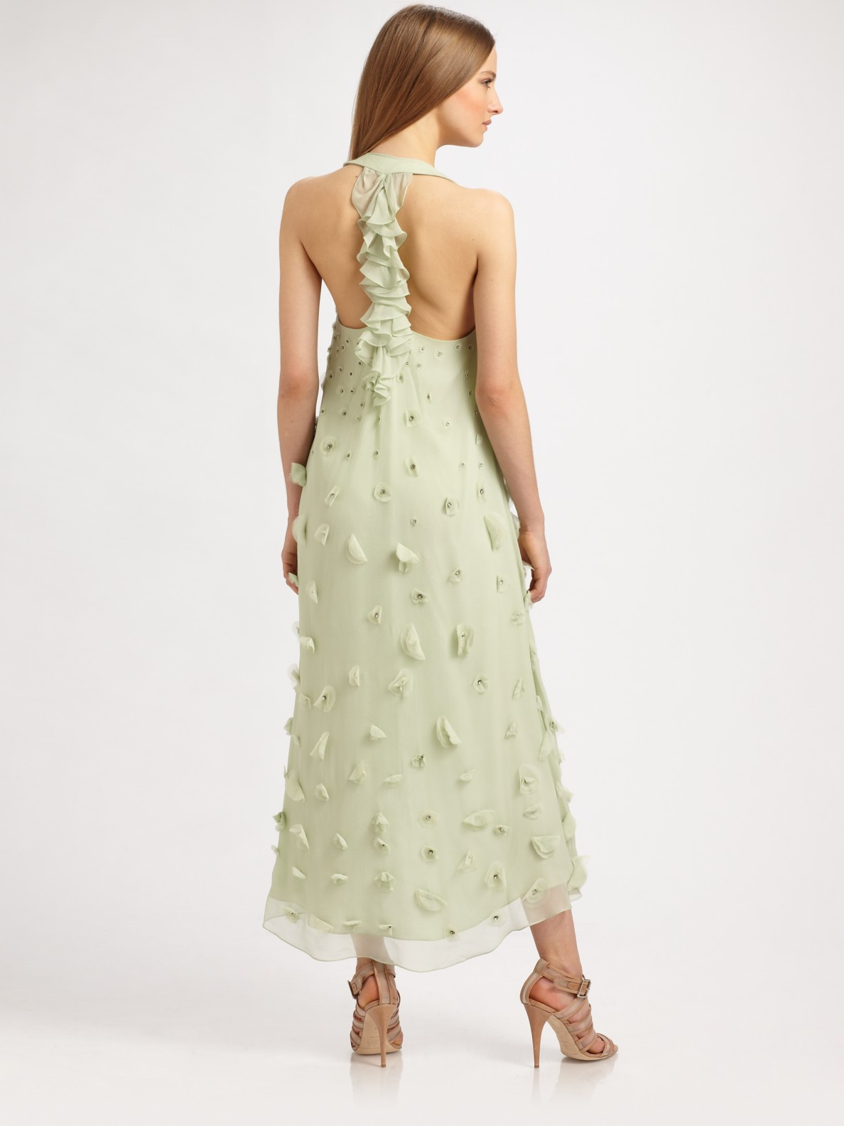 Badgley Mischka Long Silk Petal Dress In Green Lyst