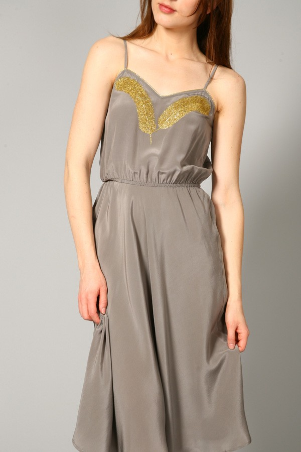 beyond vintage dress with feathered embellishment in gray